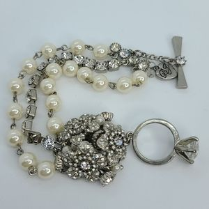 Betsey Johnson pearls and diamond ring bracelet